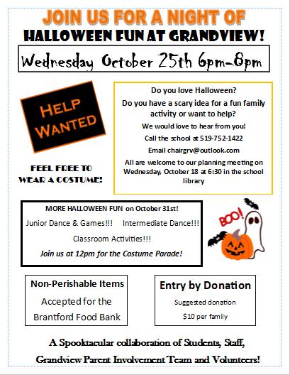 Upcoming Halloween Activities | Grandview Grizzlies